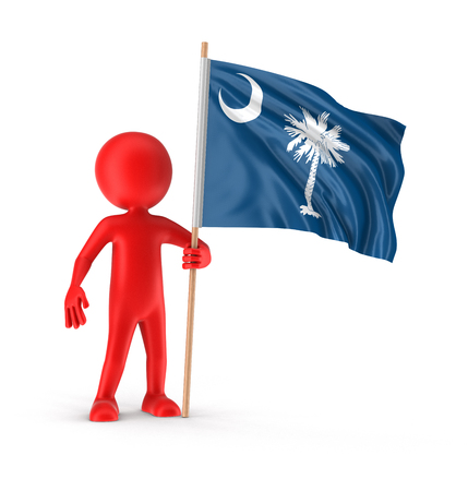 Man and flag of the US state of South Carolina. Image with clipping path