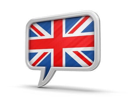 Speech bubble with flag of UK. Stock Photo