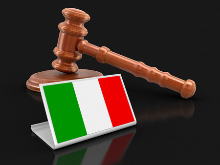 3d wooden mallet and Italian flag. Image with clipping path