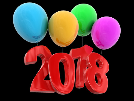Image of 2018 on Balloons. Image with clipping path Stock Photo