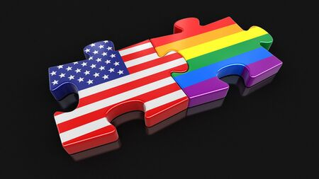 transexual: USA and LGBT puzzle from flags. Image with clipping path