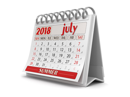 Calendar - July 2018 (clipping path included)
