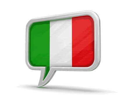 Speech bubble with Italian flag. Image with clipping path Illustration