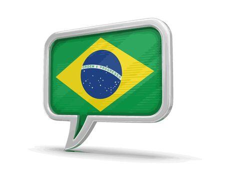 Speech bubble with Brazilian flag Ilustração