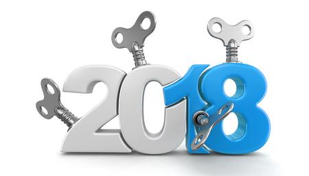 鍵を巻線と新しい年 2018 年。画像クリッピングパスと。