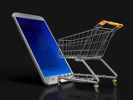 Touchscreen smartphone and Shopping Cart. Image with clipping path