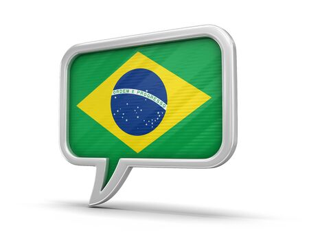 Speech bubble with Brazilian flag. Image with clipping path