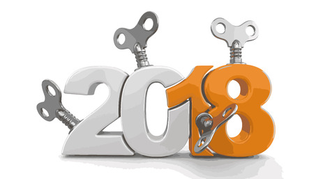 New Year 2018 with winding keys.