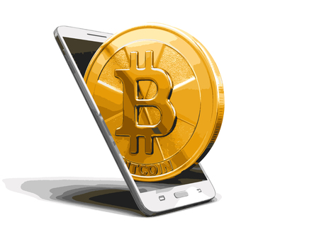Smart Phone and Bitcoin. Image with clipping path Illustration