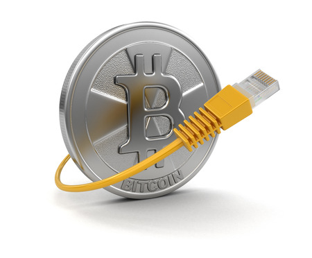 Computer Cable and Bitcoin. Image with clipping path Фото со стока