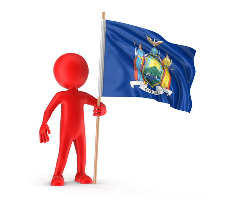 Man and flag of the US state of New York. Image with clipping path