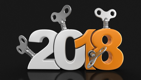 New Year 2018 with winding keys. Image with clipping path.