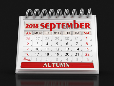 Calendar - September 2018 (clipping path included)