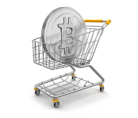 Shopping Cart and Bitcoin. Image with clipping path Banco de Imagens