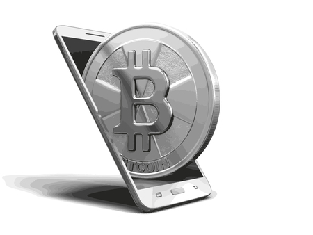 SmartPhone and Bitcoin. Image with clipping path
