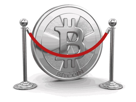 Golden bitcoin and chrome stanchions with rope. Image with clipping path