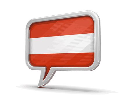 chat room: Speech bubble with flag of Austria. Image with clipping path