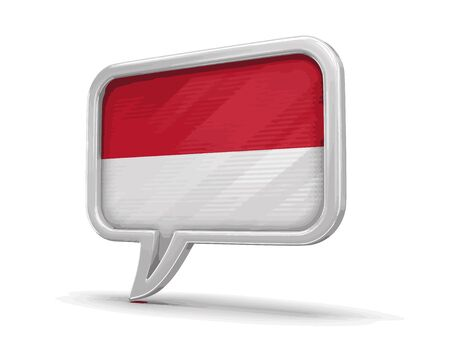 Speech bubble with Indonesian flag. Image with clipping path