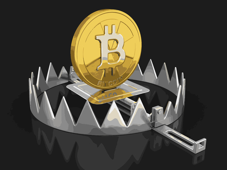 Trap and bitcoin. Image with clipping path