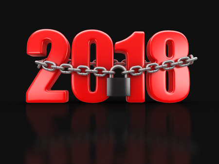 2018 and lock (clipping path included) Stock Photo