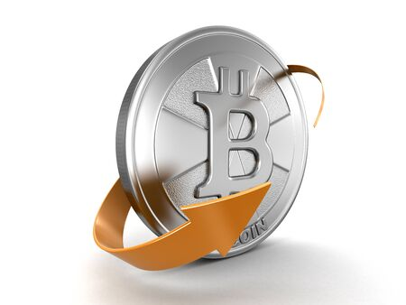 curve: Bitcoin and arrow. Image with clipping path Stock Photo