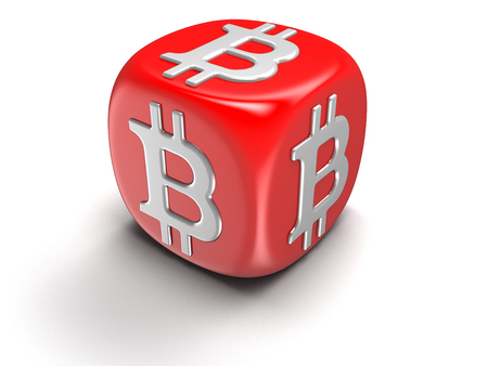 Dice with Bitcoin sign. Image with clipping path