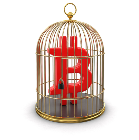 lock symbol: Gold Cage with Bitcoin sign. Image with clipping path
