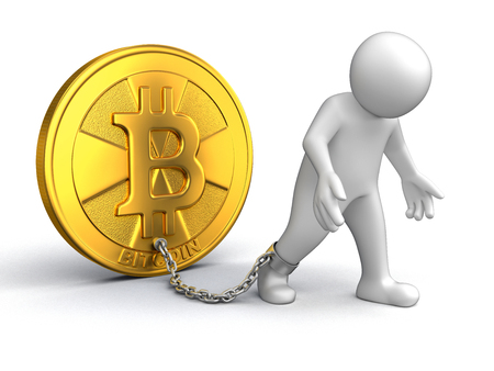 Man and Bitcoin. Image with clipping path Stock Photo