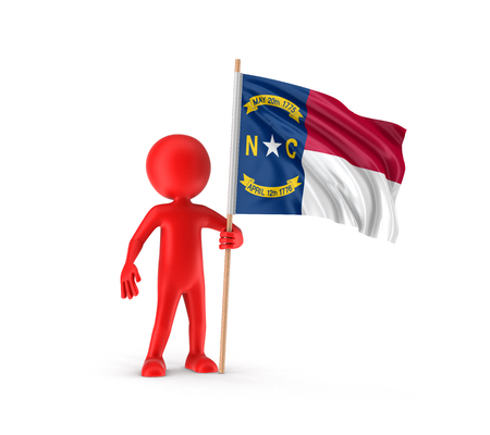 Man en vlag van de Amerikaanse staat North Carolina. Afbeelding met uitknippad