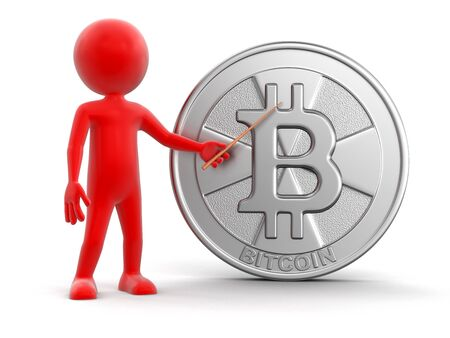 Silver bitcoin and man. Image with clipping path