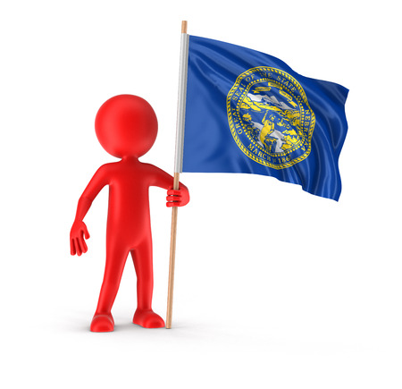 Man and flag of the US state of Nebraska. Image with clipping path