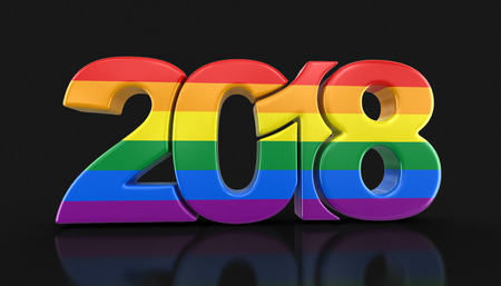transgender gay: Gay Pride Color New Year 2018. Image with clipping path.