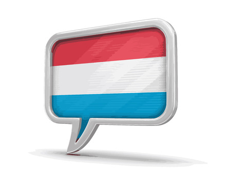 chat room: Speech bubble with Luxembourg flag on white background. Illustration