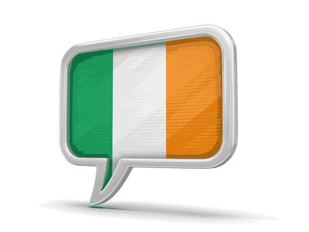 Speech bubble with Irish flag. Image with clipping path