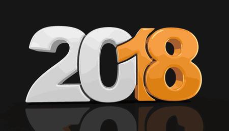 day: New Year 2018. Image with clipping path.