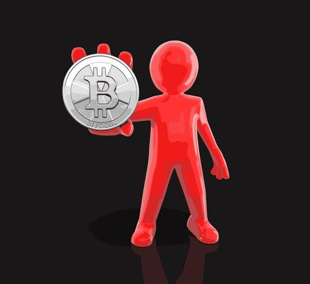 Silver bitcoin and man on black background.