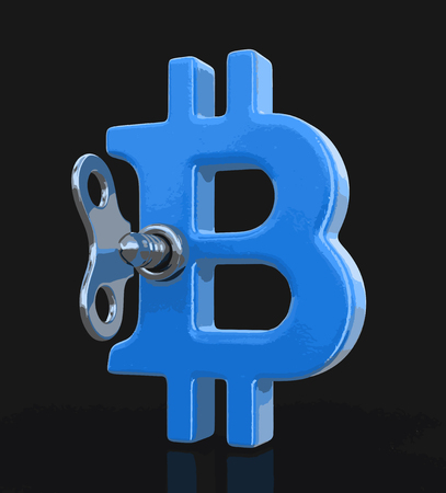 Bitcoin sign and winding key on black background. Illustration