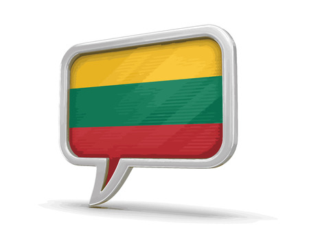 chat room: Speech bubble with Lithuanian flag. Image with clipping path