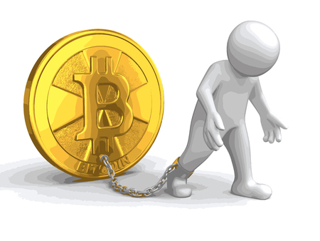 Man and Bitcoin. Image with clipping path Ilustração
