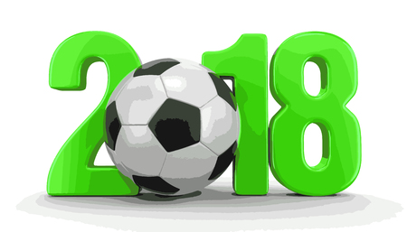 Soccer football with 2018. Image with clipping path Illustration
