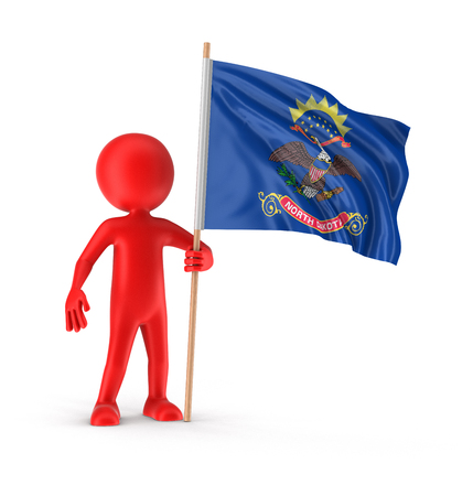 Man and flag of the US state of North Dakota. Image with clipping path