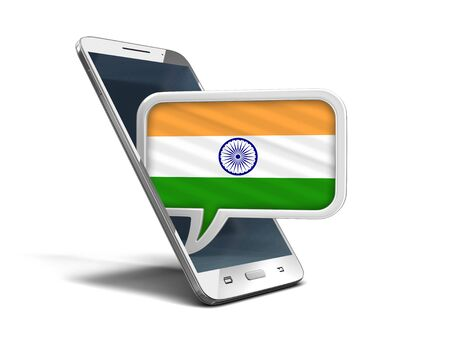 Touchscreen smartphone and Speech bubble with Indian flag. Image with clipping path