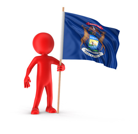 Man and flag of the US state of Michigan. Image with clipping path