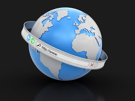 Web browser screen around the Earth. Image with clipping path