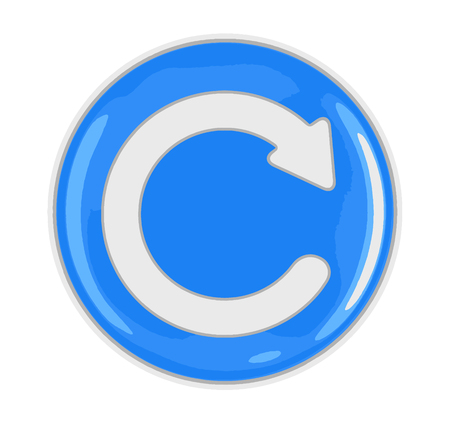 Button with refresh sign. Image with clipping path