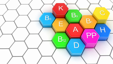 3d image of Multi-vitamins on honeycomb