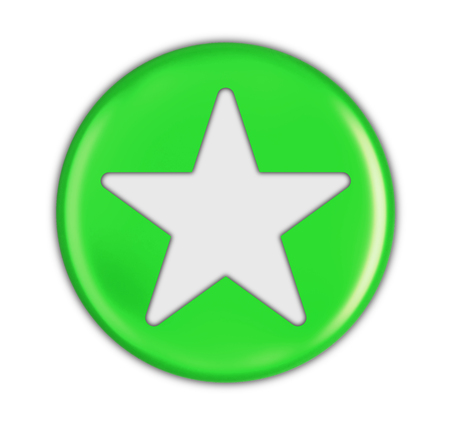 Button with star. Image with clipping path Stock Photo