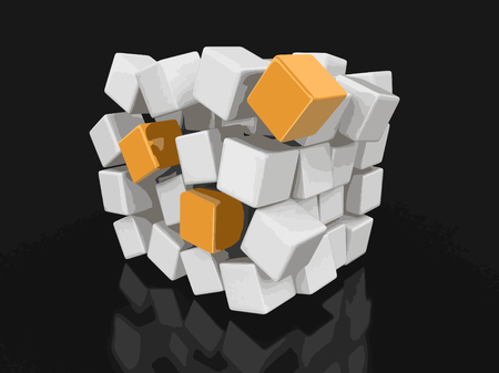 Cube falls apart. Image with clipping path vector illustration.