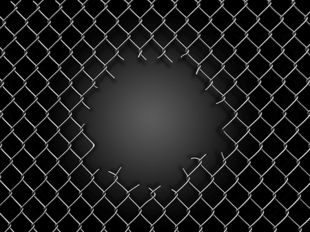 Chainlink fence with hole. Image with clipping path