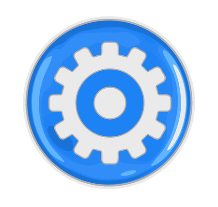 Button with gear. Image with clipping path